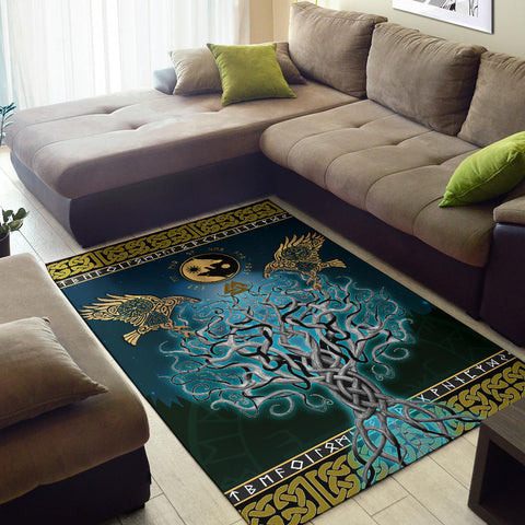 1stIceland Viking Area Rug, Tree Of Life Fenrir Skoll And Hati Raven Rune TH00 - 1st Iceland