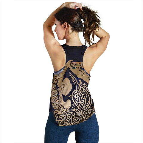 Image of 1stIceland Viking Women Racerback Tank, Wolf Celtic Galaxy J1 - 1st Iceland
