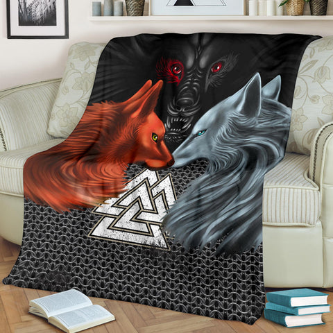Image of 1stIceland Viking Premium Blanket, Hati and Skoll Valknut ChainMail K13 - 1st Iceland