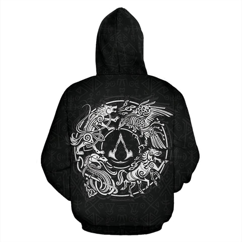 1sticeland Viking Valhalla Zip Hoodie Raven with Wolf - Sleipnir TH5