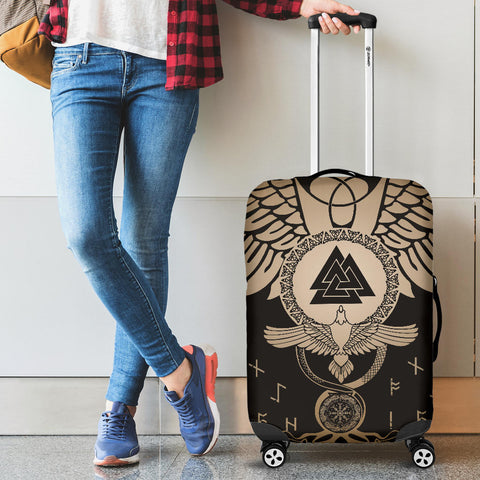 Image of 1stIceland Viking Luggage Covers, Flying Raven Tattoo And Valknut Gold - 1st Iceland