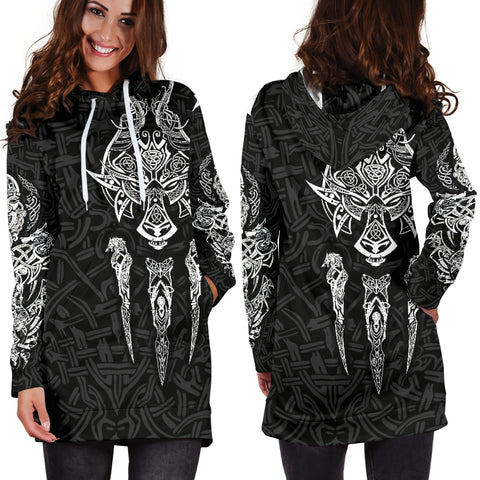 1stIceland Viking Women Hoodie Dress, Fenrir The Vikings Wolves Th00 Black - 1st Iceland
