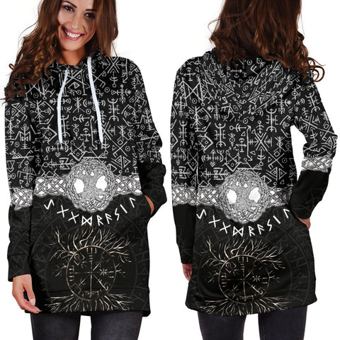 1stIceland Viking Hoodie Dress, Yggdrasils Runes Circle K7 - 1st Iceland