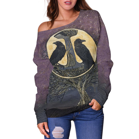 1stIceland Viking Women's Off Shoulder Sweater, Raven And Tree Of Life K5 - 1st Iceland