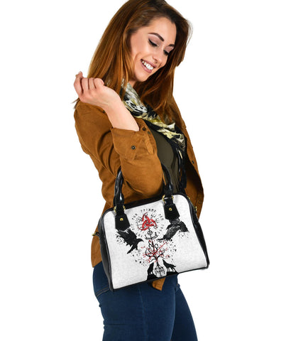 1stIceland Viking Shoulder Handbag, Vegvisir Hugin and Munin with Fenrir Yggdrasil K4
