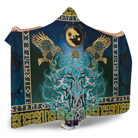 1stIceland Viking Hooded Blanket, Tree Of Life Fenrir Skoll And Hati Raven Rune TH00 - 1st Iceland
