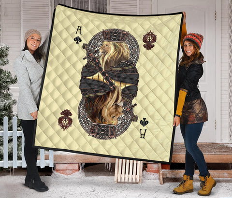 Image of 1st Iceland King Ace Spade Lion Poker Premium Quilt TH12 - 1st Iceland