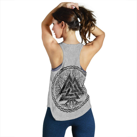 1stIceland Viking Racerback Tank, Fenrir Skoll And Hati Valknut White TH00 - 1st Iceland