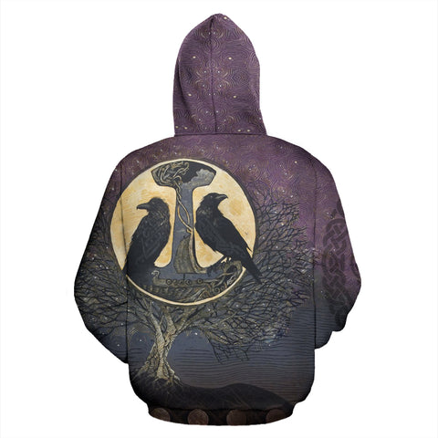 1stIceland Viking Zip Up Hoodie, Raven Of Odin Mjolnir Tree Of Life K5 - 1st Iceland