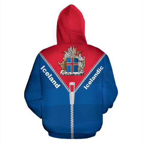 Image of 1stIceland Pullover Hoodie, Iceland Coat Of Arms Straight Zipper Style K5 - 1st Iceland