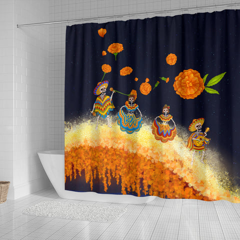 1stIceland Mexican Día de Muertos Shower Curtain Cempasúchil Flowers Bridge K8 - 1st Iceland