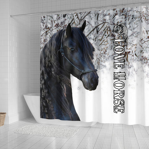 1stIceland Beautiful Friesian Horse Shower Curtain TH12 - 1st Iceland