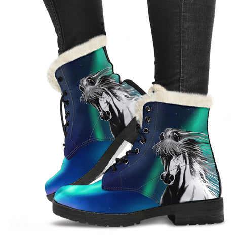 1stIceland Faux Fur Leather Boots, Icelandic Horse Northern Lights Aurora K7 - 1st Iceland