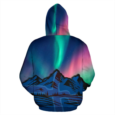 Image of 1stIceland  Zip Up Hoodie, Kirkjufell Mountain Northern Lights K4 - 1st Iceland