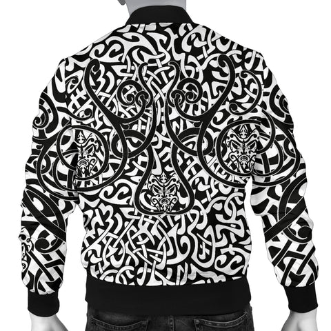 1stIceland Celtic Bomber Jacket for Men, Celtics Dragon Tattoo Th00 - White - 1st Iceland