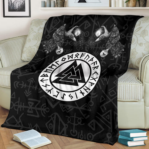 Image of 1stIceland Viking Premium Blanket, Fenrir Skoll And Hati Valknut Raven TH00 - 1st Iceland