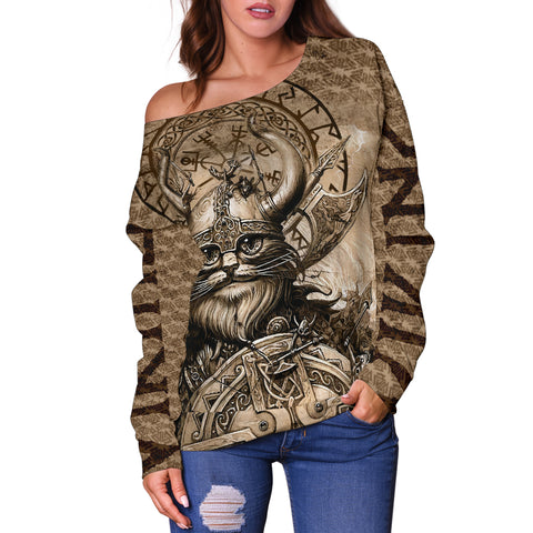 1stIceland Viking Women's Off Shoulder Sweater Classic Cat Version TH12 - 1st Iceland