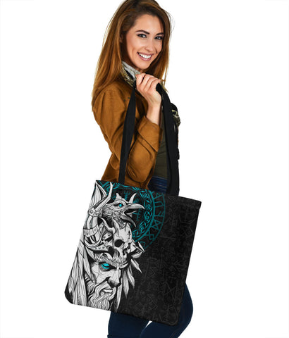 1stIceland Viking Odin And Raven Turquoise Tote Bag TH12