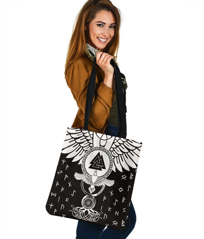 1stIceland Viking Tote Bag, Flying Raven Tattoo And Valknut - 1st Iceland