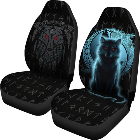 1stIceland Fenrir Viking Wolf And Moon Car Seat Covers TH12 - 1st Iceland
