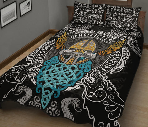 Image of 1stIceland Viking Quilt Bed Set , Odin Helmet Valnut Helm Of Awe Odin A7 - 1st Iceland
