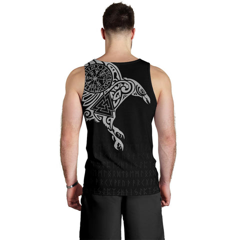 Image of (Custom) 1stIceland Viking Men's Tank Top, Raven Valknut Vegvisir Runes A7 - 1st Iceland