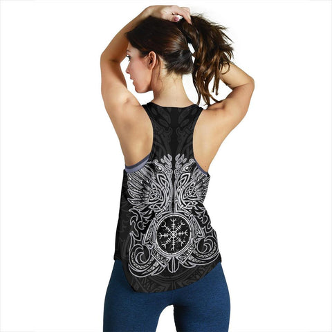 1stIceland Viking Women's Racerback Tank, Odin's Ravens Helm Of Awe Th5 - 1st Iceland