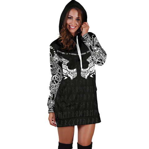 Image of 1stIceland Viking Women Hoodie Dress, Fenrir Tattoo The Ragnarok K4 - 1st Iceland