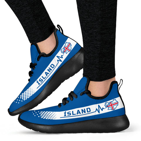 1stIceland Knit Sneakers, Ísland Heartbeat Flag Map TH0 - 1st Iceland