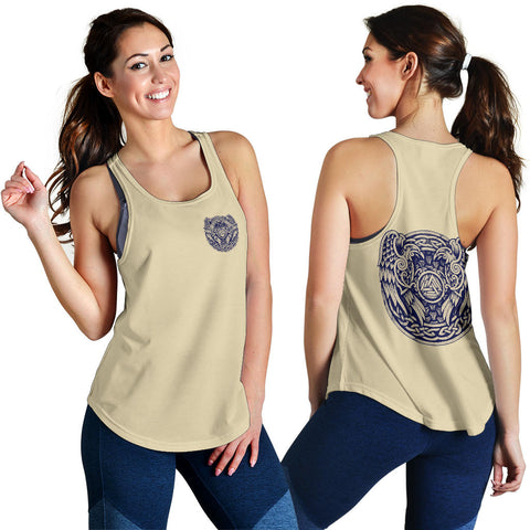 1stIceland Viking Women's Racerback Tank, Valknut Huggin And Muninn Th00 - 1st Iceland