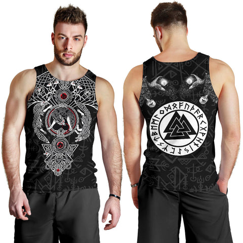 1stIceland Viking Men Tank Top, Fenrir Skoll And Hati Valknut Raven TH00 - 1st Iceland