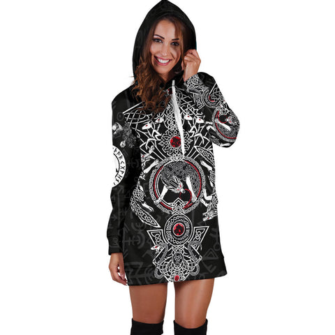 Image of 1stIceland Viking Hoodie Dress, Fenrir Skoll And Hati Valknut Raven TH00 - 1st Iceland