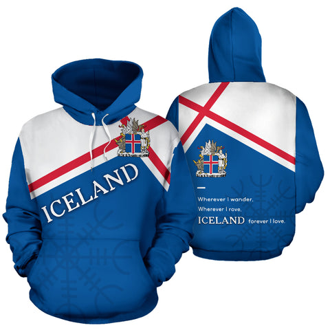1stIceland Pullover Hoodie, Iceland Flag Coat Of Arms Helm Of Awe K5 - 1st Iceland