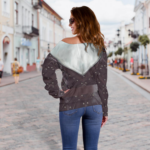 1sticeland Off Shoulder Sweater, 3D Arya Stark Armor All Over Print - 1st Iceland