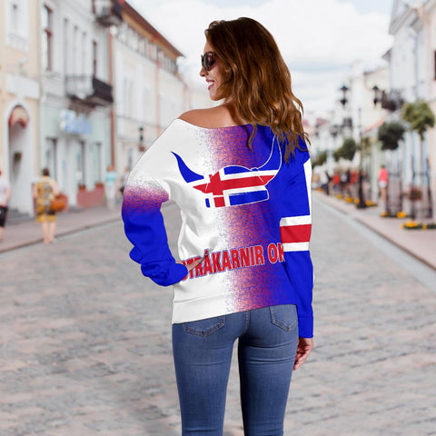 Image of 1stIceland Off Shoulder Sweater, Strákarnir Okkar Football K7 - 1st Iceland