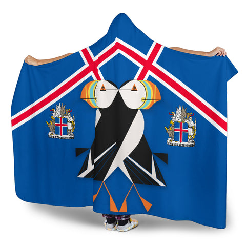 1stIceland Hooded Blanket, Icelandic Puffin Iceland Coat Of Arms K7 - 1st Iceland