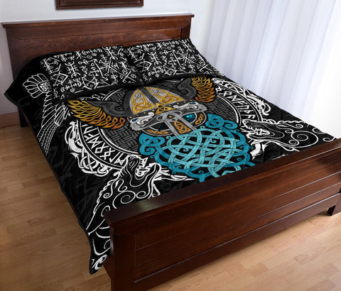 1stIceland Viking Quilt Bed Set , Odin Helmet Valnut Helm Of Awe Odin A7 - 1st Iceland