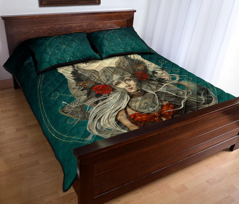 Image of 1stIceland Viking Quilt Bed Set, Valkyrie Helm Of Awe Rune Circle K5 - 1st Iceland