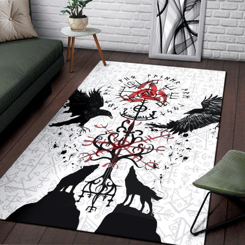 1stIceland Viking Area Rug, Vegvisir Hugin and Munin with Fenrir Yggdrasil K4 - 1st Iceland