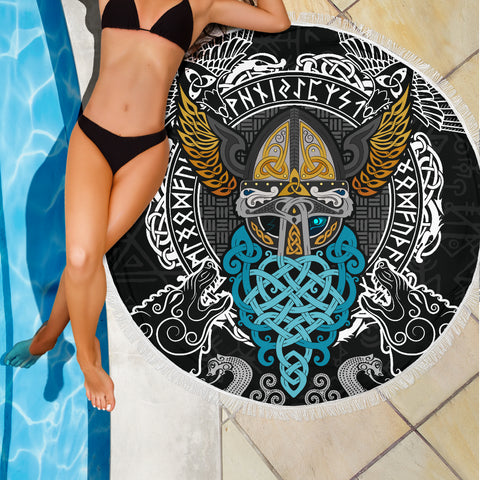 Image of 1stIceland Viking Beach Blanket, Odin Helmet Valnut Helm Of Awe Odin A7 - 1st Iceland