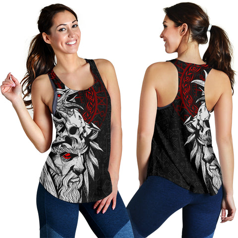 1stIceland Viking Odin And Raven Red Women's Racerback Tank TH12 - 1st Iceland