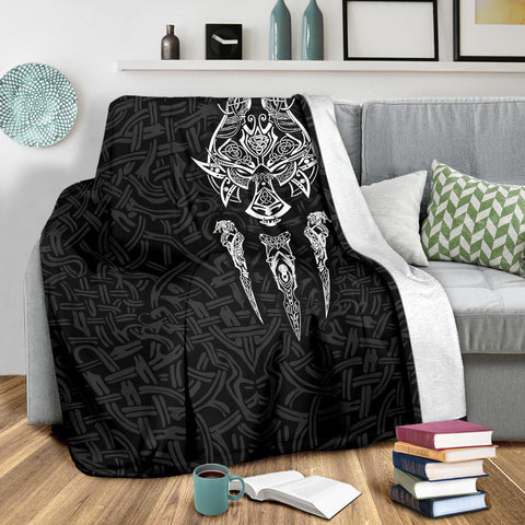 1stIceland Viking Premium Blanket, Fenrir The Vikings Wolves Th00 Black - 1st Iceland