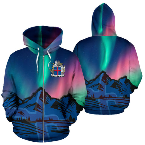 1stIceland  Zip Up Hoodie, Kirkjufell Mountain Northern Lights K4 - 1st Iceland