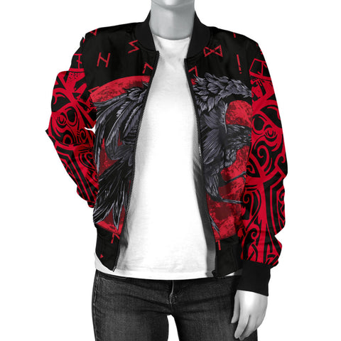 1stIceland Viking Women Bomber Jacket , Odin Raven with Blood Moon Th5 - 1st Iceland