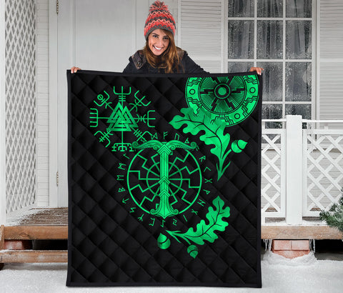 Image of 1stIceland Viking Oak Leaf Premium Quilt Valknut Vegvisir With Irminsul - Green K8 - 1st Iceland