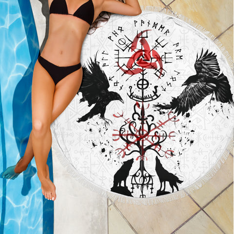 Image of 1stIceland Viking Beach Blanket, Vegvisir Hugin and Munin with Fenrir Yggdrasil K4 - 1st Iceland