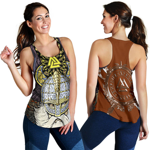 1stIceland Viking Women's Racerback Tank, Odin Norse Mythology Runes Valknut Th00 - 1st Iceland