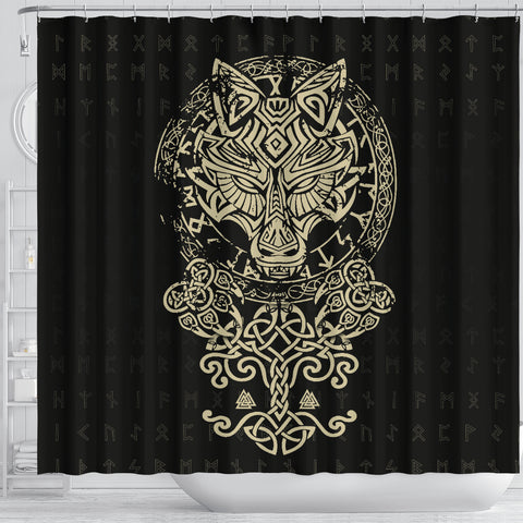 1stIceland Viking Wolf Fenrir Shower Curtain TH12 - 1st Iceland