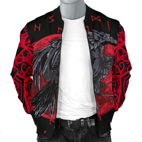 Image of 1stIceland Viking Men Bomber Jacket , Odin Raven with Blood Moon Th5 - 1st Iceland