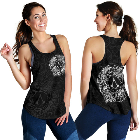 Image of 1sticeland Viking Valhalla Women's Racerback Tank Raven with Wolf - Sleipnir TH5 - 1st Iceland